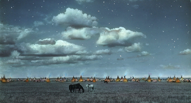 Blackfeet camp at night. Montana. 1800s. Glass lantern slide by Walter McClintock. Source - Yale Collection of Western Americana, Beinecke Rare Book and Manuscript Library.png