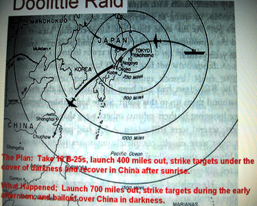 Map of the Doolittle raid
