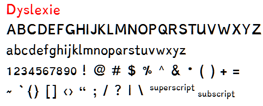 Dyslexie font sample