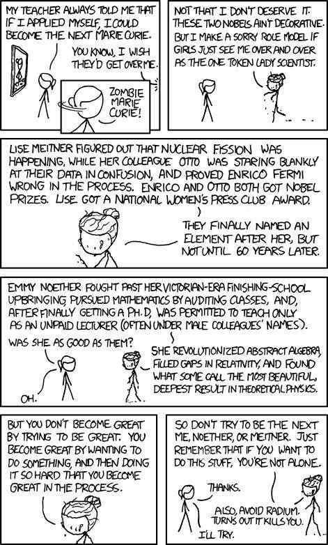 from XKCD - Zombie Marie Curie comic strip