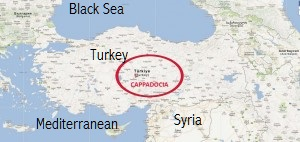 Map of Turkey with ancient Cappadocia circled