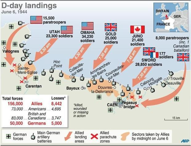 D Day Landings Map