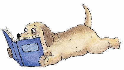 cartoon dog reading